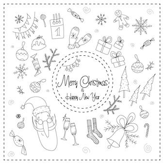 Lustiges schwarz-weißes weihnachts- und neujahrs-doodle-element-set