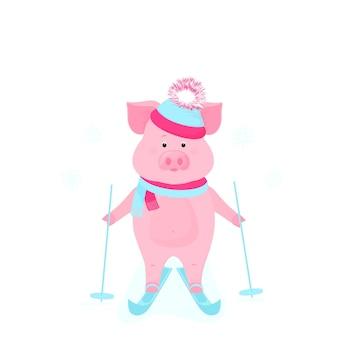 Lustiges schwein auf schlittschuhen. nettes schweinchen-skifahren. ferkel im winterurlaub. cartoon-schweine im freien.
