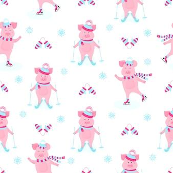 Lustiges schwein auf schlittschuhen. süßes schweinchen skifahren. ferkel im winterurlaub. cartoon schweine im freien. nahtloses muster für das neue jahr und weihnachten