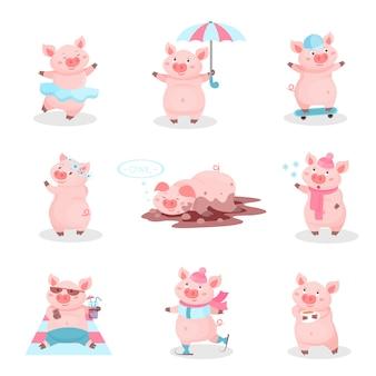 Lustiges schweineaktivitätsset, niedliche ferkelkarikaturfiguren in verschiedenen situationen illustration auf einem weißen hintergrund