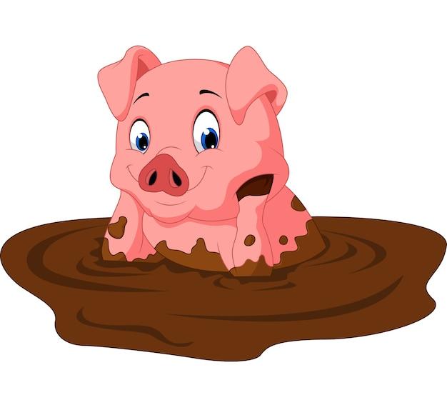 Lustiges schweinsitzen der karikatur