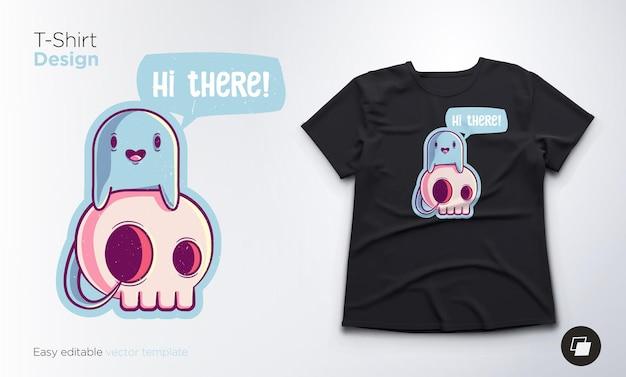 Lustiges skelett mit geisterillustration und t-shirt