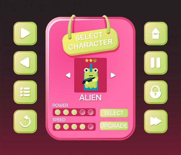 Lustiges spiel-ui-kit mit knopf und charaktermenü auswählen