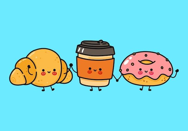 Lustiges süßes, fröhliches donut-kaffee- und croissant-charakter-bundle-set