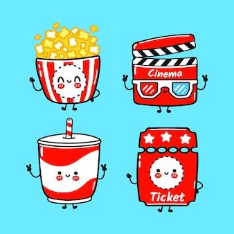 Lustiges süßes fröhliches popcorn-film-klöppel-limonade-ticket-charakter-bündel-set
