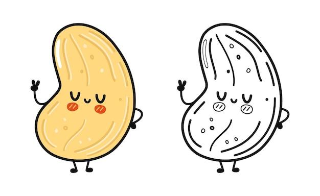 Lustiges süßes glückliches cashew-charakter-bundle-set