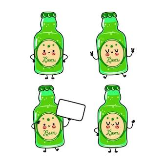 Lustiges süßes glückliches grünes flaschenbierzeichen-bündelset