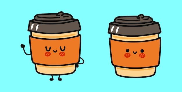 Lustiges süßes glückliches kaffee-pappbecher-charakter-bündelset