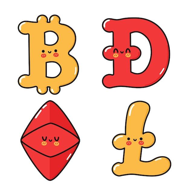 Lustiges süßes glückliches kryptowährungs-charakter-bundle-set