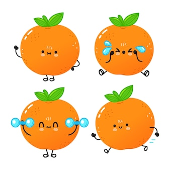 Lustiges süßes glückliches mandarinenzeichenpaket set