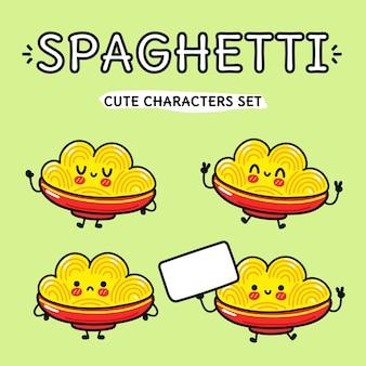 Lustiges süßes glückliches spaghetti-zeichenpaket-set