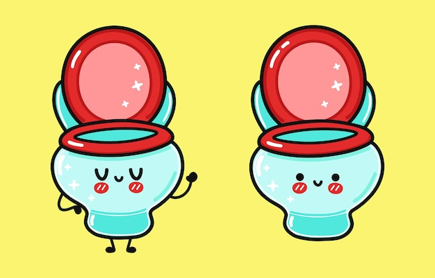 Lustiges süßes glückliches wc-charakter-bundle-set