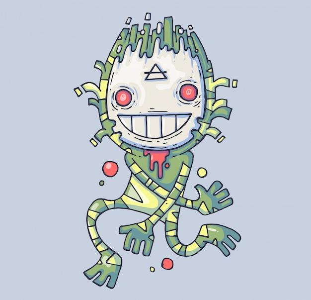 Lustiges sumpfmonster. schöpfung in einer maske. cartoon-abbildung