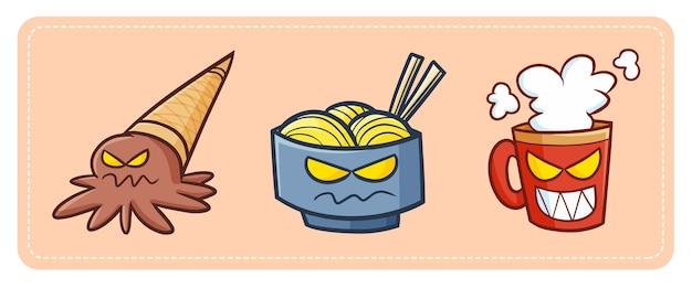 Lustiges und gruseliges kawaii eis, nudeln und eine tasse gift, die bereit sind, an halloween nacht zu erschrecken