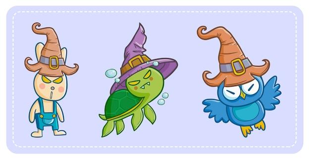 Lustiges und niedliches kawaii böses kaninchen, schildkröte und eule, die hexenhut für halloween tragen.