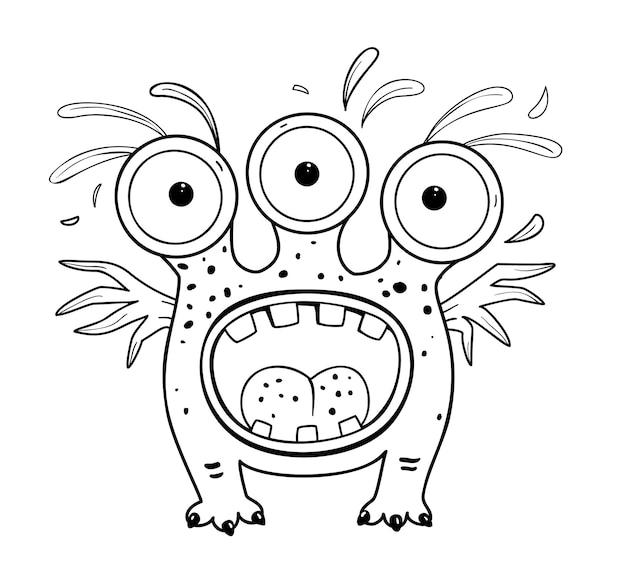 Lustiges und süßes alien-monster mit drei augen für kinder imaginäre kreatur für kinder malbuch