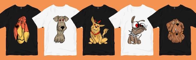 Lustiges und unheimliches hundekarikatur-t-shirt-design-bündel