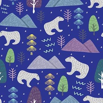 Lustiges weihnachtsmuster mit eisbier und winterwald