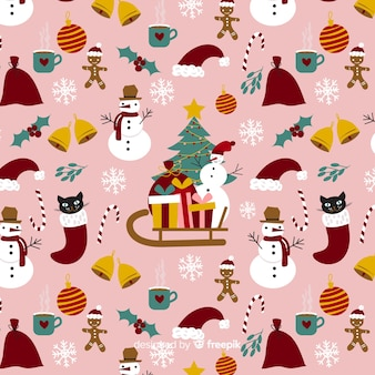 Lustiges weihnachtsmuster mit elementen