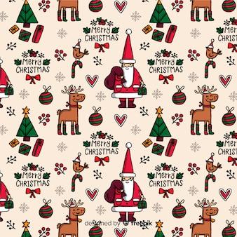 Lustiges weihnachtsmuster mit ren und weihnachtsmann
