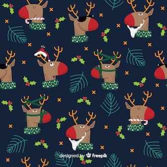 Lustiges weihnachtsmuster mit ren