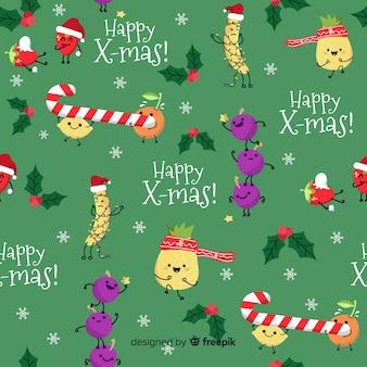 Lustiges weihnachtsmuster mit süßigkeit