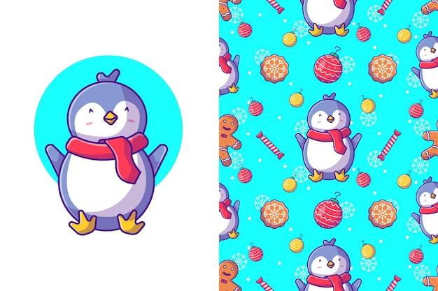 Lustiges weihnachtsnahtloses muster mit nettem pinguin, der weihnachten feiert