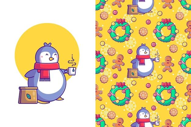 Lustiges weihnachtsnahtloses muster mit pinguinen