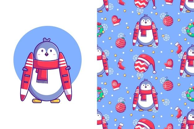 Lustiges weihnachtsnahtloses muster mit pinguinskifahren im winter