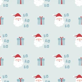 Lustiges weihnachtsnahtloses muster mit santa claus