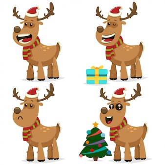 Lustiges weihnachtsren in santa claus-kappe mit geschenkbox und festlichem verziertem baum. vector zeichentrickfilm-figur-satz nette rotwild für feiertagsdesign