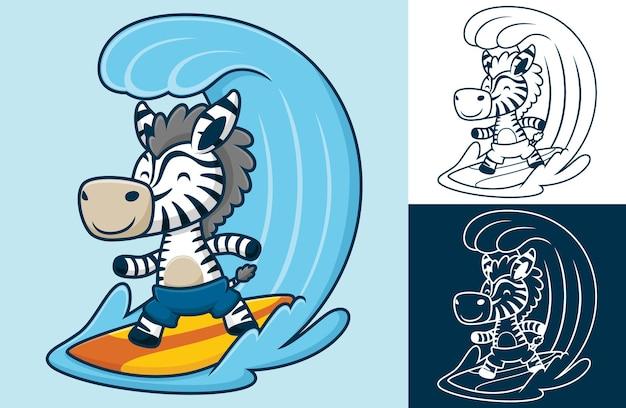 Lustiges zebrasurfen in der großen welle. karikaturillustration im flachen ikonenstil