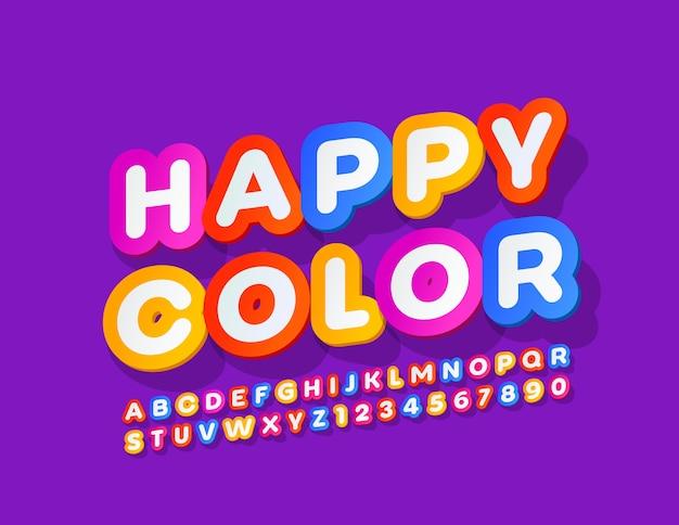 Lustiges zeichen happy color mit kreativer schrift. helle buchstaben und zahlen des alphabets