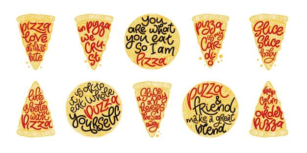 Lustiges zitat auf pizzascheiben cologful set. vektordesignelemente für t-shirts, taschen, poster, karten, aufkleber und speisekarte