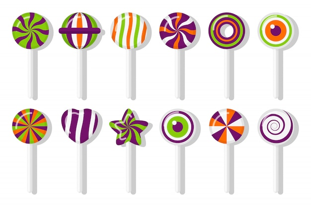 Lutscher halloween bonbons mit verschiedenen spiralmustern gesetzt. bunter genuss für hauptfeiertag im oktober. süßer zucker candy stick stern, herz, auge mit verdrehtem design. isolierte illustration