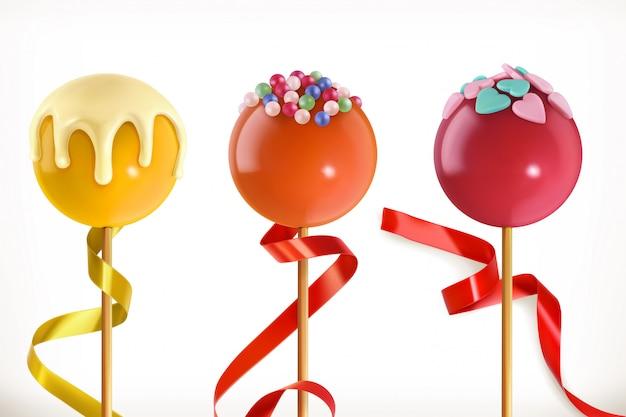 Lutscher süßigkeiten. valentinstag, kleine süße herzen