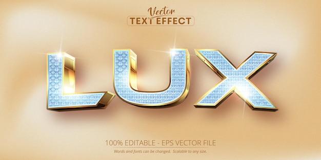Lux-text, bearbeitbarer texteffekt im glänzenden diamanten- und glänzenden goldstil
