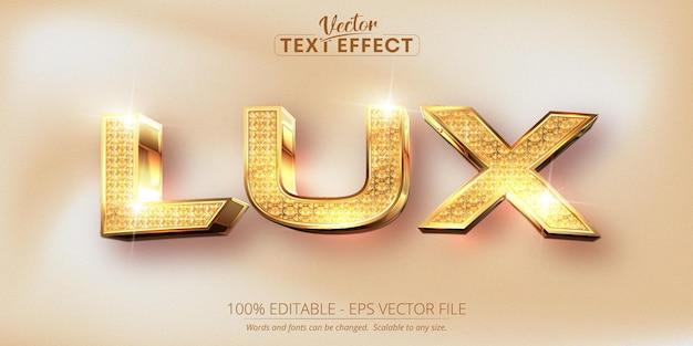 Lux-text, bearbeitbarer texteffekt im glänzenden strukturierten und glänzenden goldstil