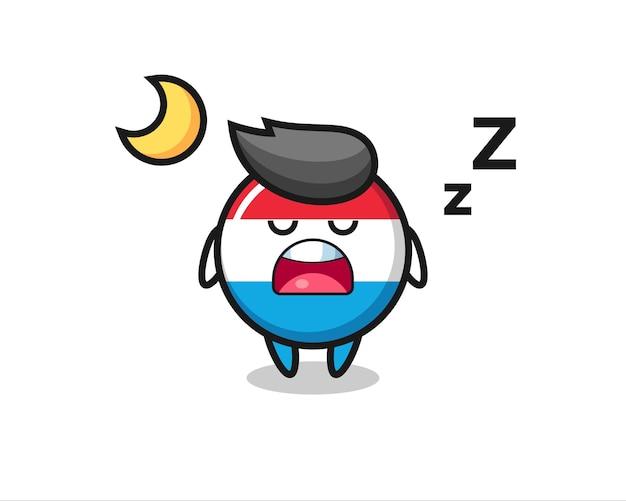 Luxemburg-flagge-abzeichen-charakterillustration, die nachts schläft, niedliches design für t-shirt, aufkleber, logo-element