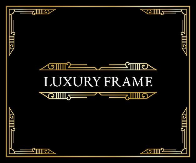 Luxuriöse antike art-deco-elemente goldene ränder umrahmen ecken teiler und header
