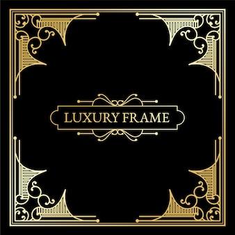Luxuriöse antike art-deco-elemente mit großen goldenen rändern umrahmen ecken, trennwände und header