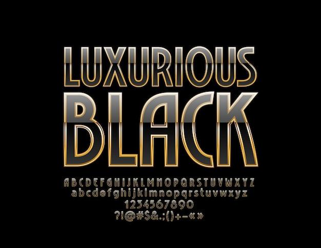 Luxuriöse buchstaben, zahlen und symbole aus schwarz und gold. schicke elegante schrift.