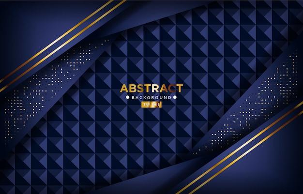 Luxuriöse dunkle dunkelblaue 3d-überlappung mit goldenen linien und goldweißen glitzerpunkten. eleganter moderner futuristischer hintergrund