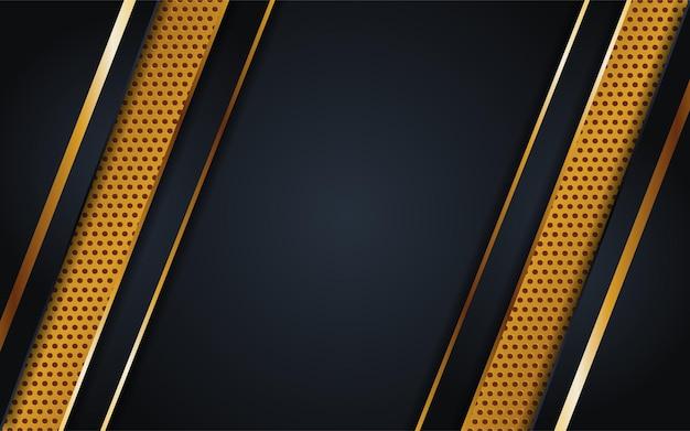 Luxuriöse dunkle hintergrundkombination mit punktstrukturlinie gold