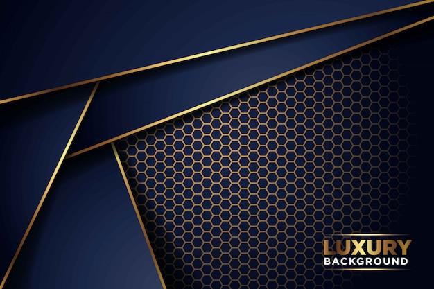 Luxuriöse dunkle marine-gold-linienüberlappung mit sechskant-netzmusterkombination. eleganter moderner futuristischer hintergrund