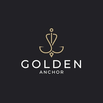 Luxuriöse goldene ankerlogo-designvorlage