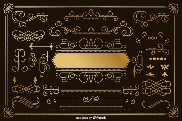 Luxuriöse goldene verzierungssammlung