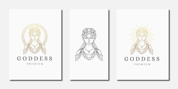 Luxuriöse griechische göttin frau mit linie stil logo symbol design-vorlage