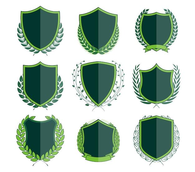 Luxuriöse grüne abzeichen laurel kranz-sammlung