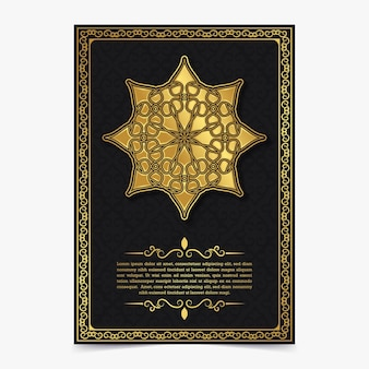 Luxuriöse grußkarte im dunklen mandala-stil